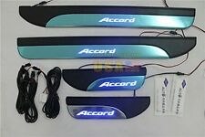 4 Door Stainless Sill Plate Guard For Honda Accord MK9 2013-2015 Blue LED Light