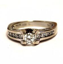 14k white gold .95ct round diamond engagement ring 6.2g womens estate vintage