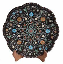 """12"""" black Marble Tray Marquetry floral Inlay Semi Precious work Home Decorative"""