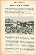Pèlerins Mosquée de la Mecque/Ramadan à Damas Syrie GRAVURE ANTIQUE PRINT 1906
