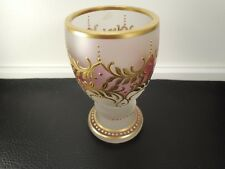 Antique Bohemian  Moser Czech Goblet Gold Encrusted Frosted Glass