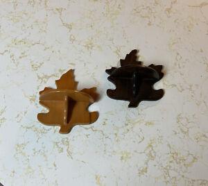 """Vintage Wood Wall Shelf Curio Maple Leaf Shaped  6.5"""" Tall Folk Tramp Art Rustic"""