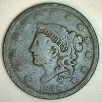 1838 Coronet Large Cent US Copper Type Coin Very Good Penny R6