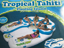 TROPICAL TAHITI 7 PERSON FLOATING ISLAND POOL RIVER COOLER FLOAT LOUNGE RAFT