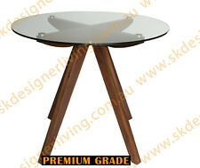 SKDL Amber Collection | Glass Dining Table | Walnut | 90cm