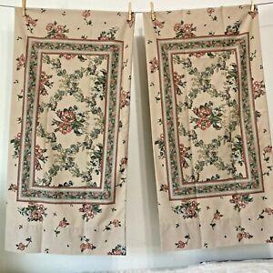 """Pair (2) Vintage Louis Nichole KING Size Pillowcases Brown Floral 19"""" x 40"""""""