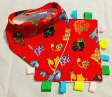 Baby, Bandana Dribble Bib And Taggie Blanket Set, Handmade, Dinosaurs On Red