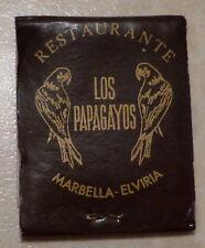VINTAGE BOOK MATCHES - RESTAURANTE LOS PAPAGAYOS, MARBELLA, ELVIRIA, SPAIN