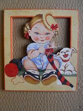 Tavoletta cartolina in legno AUGURI vintage anni 50-60 Ballerini & Fratini [OGL1
