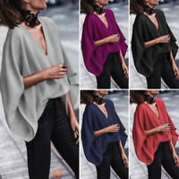 Women V Neck Batwing Sleeve Plain Loose Blouse Ladies Solid Casual T Shirt Top