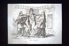 Incisione d'allegoria e satira Gaeta, Papa Pio IX e prelati Don Pirlone 1851