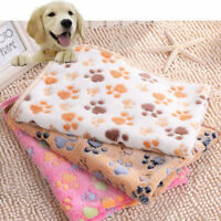 Fashion Pet Warm Paw Print Dog Puppy Cat Pig Fleece Soft Blanket Beds Mat S/L