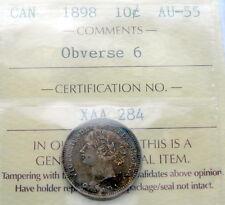 1898 Ten Cents ICCS Certified AU-55 OBV.#6 Sharp HIGH Grade AU-UNC Victoria Dime