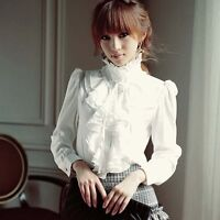 Elegant Women OL Solid Ruffle Career Frill Collar Long Sleeve Shirt Tops Blouse