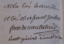 FAURE DE MONTALAND Autographe Signé 1787 LIEUTENANT LYON CHASSE GUILLOTINE Rare
