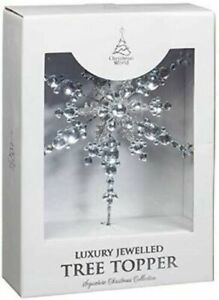 Christmas World Luxury Jewelled Tree Topper For Xmas Tree Decoration - Silver