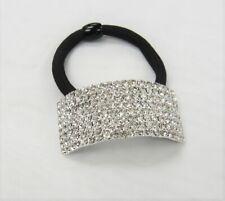 Dressy Silver Rhinestone Crystal Ponytail Holder Hair Elastic Hair Tie Wedding
