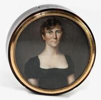 Antique French Empire Portrait Miniature, Woman, Table Snuff Box, Hair Art