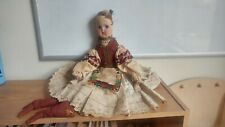 Ornate Antique Cloth Doll Oil Painted Face suede boots brocade bodice Apron rag