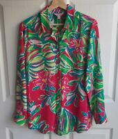 Lilly Pulitzer Womens Pink Jungle Tumble Silk Isla Blouse Top Shirt Size Small