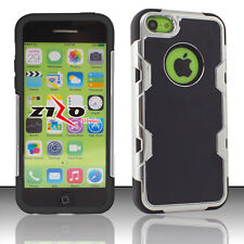 For Apple iPhone 5C Cosmic HYBRID HARD Leather Back Rubber Case Cover Black
