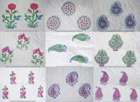 Hand Block Print Cotton Fabric Indian Handmade Sanganeri Vintage Natural Printed