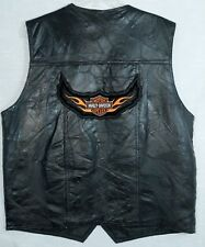 Harley Davidson Navarre Leather Co Vest Black Italian Stone Design Mens Size XL