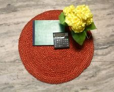 Red Natural Jute Hemp Door Mat Indian Braided Home Decor Round Rug DN-2020