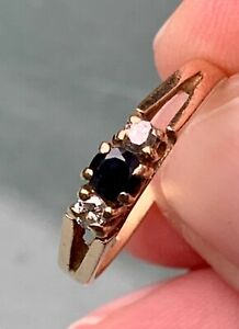 9ct Gold Sapphire and Diamond Ring Size J
