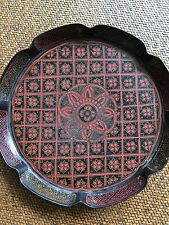 19th Cent Chinese Antique Lacquer Tray In Red/ Black and lily leaf design
