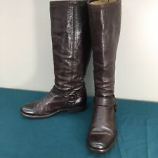 Used Frye 4001 Dark Brown Leather Womens Moto Harness Knee High Boots sz 10