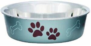 Loving Pets BELLA BOWL Stainless Steel Dog Feeder Bowl METALLIC BLUEBERRY