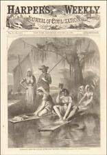 ACADIANS, CAJUNS, BAYOU LAFOURCHE, LOUISIANA antique engraving original 1866