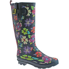 LADIES URBAN BEACH FESTIVAL WELLIES SIZE UK 3 - 8 NAVY BLUE CARNABY FLORAL FW815