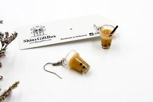 Novelty Miniature Food / Drink Resin Earrings - Bubble Milk Tea with Pearl