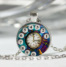 Phone Rotary Dial Tibet silver Dome Glass Cabochon Necklace chain Pendant #382