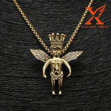 Hip Hop Jewelry 18k Gold Crown Angel Charm Pendant Necklace Box Chain 3MM 30""