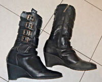 ICON Bombshell Motorcycle Riding women's boots size 9.5 zipper bike leather $171