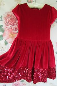 Red Velvet Sequin Sparkle Party Occasion Dress M&S 7-8 Marks & Spencer