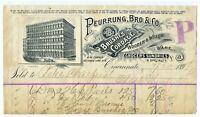 GRAPHIC 1897 PEURRUNG BRO BILLHEAD BRUSHES CORDAGE GROCERIES CINCINNATI OHIO