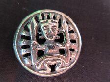 "5780-D8 �� Unusual ""Medicine Man"" Pierced White Metal Antique Button"