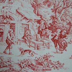 Textiles français Toile de Jouy Fabric (Red)