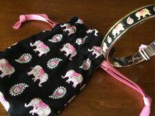 Vera Bradley Pink Elephants Signed Bangle Bracelet with gift pouch