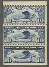 Scott C10a Lindbergh MNH Booklet Pane of 3, SCV $115, Copy 2