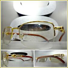 c4460fa14b Men Classy Elegant SOPHISTICATED Clear Lens EYE GLASSES Gold   Wood Wooden  Frame