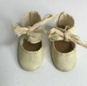 """Vintage Oil Cloth  Doll Shoes Off White Tie 2 1/4"""" Long Composition Doll"""