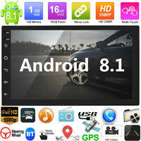 "2Din 7"" Android8.1 GPS Navigation WiFi Quad Core Car Stereo MP5 Player FM Radio"