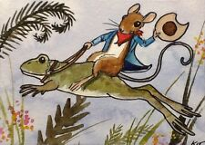 ACEO Original By Kit Lundwall Watercolor Ink Mouse Bullfrog Whimsical