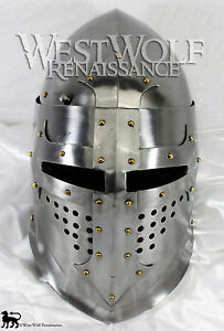 Medieval Great Bascinet Helmet -- Hand-Forged --- sca/jousting/helm/knight/armor