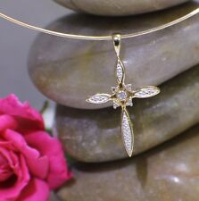 Solid 10K Yellow Gold Cross with Diamonds,Sparkely Pretty Pendant Charm